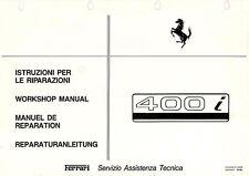 FERRARI 400i MANUALE OFFICINA RIPARAZIONE WORKSHOP MANUAL REPRINT RISTAMPA
