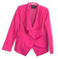 Lafayette 148 Women's Hot Pink Open Front Jacket Blazer size 10 Asymmetrical HK