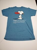 2016 Peanuts Snoopy Hangry Definition T Shirt Mens Size Large Blue Retro