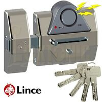 Lince Rim Door Lock High Security Heavy Duty Sliding Dead Bolt Built-In Alarm