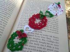 Shuttle Tatted Christmas Wreath Heart Bookmark Unique Gift Dove Country Tatting