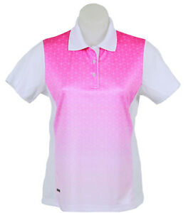 Women's White and Pink Polo Short Sleeve Golf T-Shirt