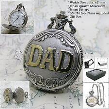 Silver Pocket Watch DAD FATHER Men Big 47 mm Antique Japan Movement Chain Box 24
