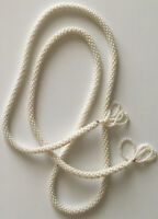 Vintage Faux Ivory Pearl Spiral Woven Long Rope Tassel Statement Necklace