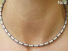 Neue Titanium Titan Halskette Collier Schmuck Granate rot Silber Herren Damen II