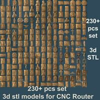 3d stl models 230+ pcs set for CNC Router Artcam Aspire Vcarve pro