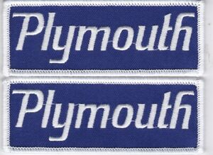 2 NAVY WHITE PLYMOUTH SEW/IRON ON PATCH EMBROIDERED HEMI MOPAR DODGE CHRYSLER