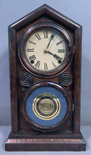 New Listing19thC Antique Victorian Era Reverse Painting on Glass Old Wood Mantel Clock