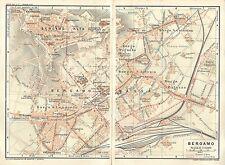 Carta geografica antica BERGAMO Pianta della città 1914 Old antique map