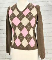 100% Cashmere Sweater Argyle Print Purple/Gray Size S TWEEDS Brown/Pink