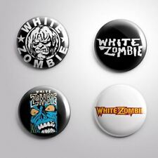4 WHITE ZOMBIE HEAVY METAL -  Pinbacks Badge Button 25mm 1''..