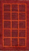 BURGUNDY Modern Gabbeh Kashkoli Oriental Area Rug Geometric Hand-knotted 3'x5'