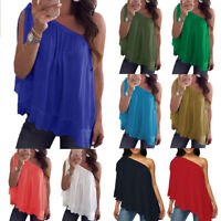 PlusSize Womens One Shoulder Chiffon Cami Tank Tops Casual Loose T-Shirt Blouse
