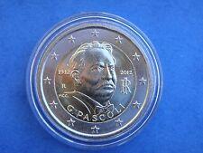 """♣ Pièce 2 euros commémorative ITALIE 2012 """" PASCOLI """"  sous capsule ♣"""