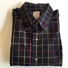 Brooks Brothers Button Front Shirt Men's Large 100% Cotton Black w Checks