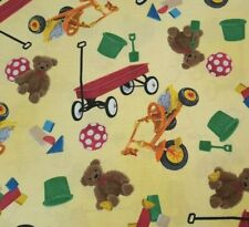 Sesame Street Forever Friends BTY Quilting Treasures Wagon Teddy Bear Yellow