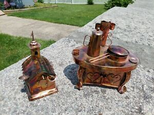Vintage Copper Tin Art Sculpture Music Box Church and  country stove both work