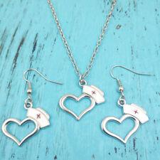 Silver Nurse's hat Necklace earring pendants,women jewelry,creative gifts