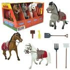 Horse Stable Play Set Farm Tools Kids Toddler Toy Animal Pretend Gift Boy Girl