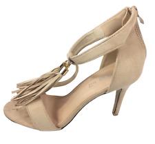 Womens Ladies Beige Faux Suede High Heel Tassel Sandals Shoes Size UK 4 8 New