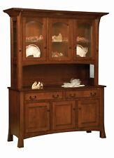 "Amish Arts & Crafts Hutch China Cabinet 3-Door Solid Wood Breckenridge 60"""