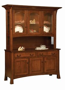 Amish Arts & Crafts Hutch China Cabinet 3-Door Solid Wood Breckenridge 60""