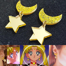 Harajuku Anime Sailor Moon Cute Kawaii Star Space Earrings Acrylic Cosplay