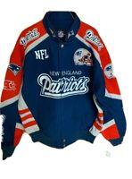 New NFL New England Patriots G-III NASCAR style twill cotton jacket men's L