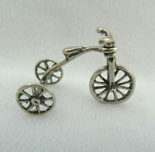 """Miniature European 800 Solid Silver """"Old Fashioned Tricycle"""" Bicycle Bike"""
