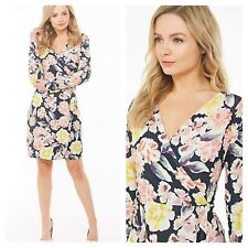 french connection Size 12 Black Multi Floral Wrap DRESS £75 Day To Evening Party