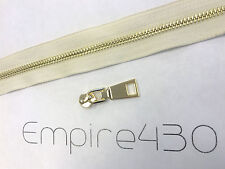 Continuous Zipper Chain by Feet, Unfinished Zipper - Metal #5 Gold, White Tape