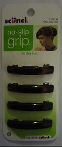 Scunci No Slip Grip Barrettes New 1PK/4Pcs Free Shipping In The US