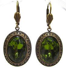 SoHo® Ohrhänger Gründerzeit bohemia olivine handgemachtes Glas 1960´s grün