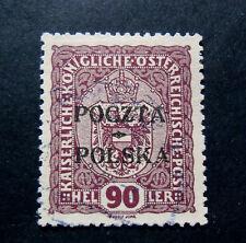 POLONIA, POLAND, POLSKA 1919 Austrian OVP 90 heller vinaceo USED