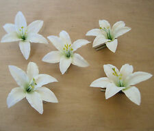 "Five Piece Lot 3.5 "" Cream White Lily Silk Flower Hair Clips, Wedding,Prom,Dance"