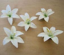 "Five Piece Lot 3.5 "" Cream White Lily Silk Flower Hair Clips, Wedding,Prom,Dance"