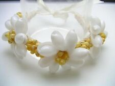 Hawaii Jewelry White Bubble Flower Shell Mango Raffia Bracelet # 20017-8 (QTY 2)
