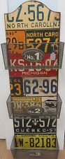 Vintage Style License Plate Wall Rack with 3 Baskets