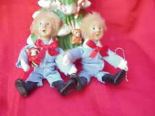Twins! 2 Byers Choice Carolers Toddlers w Light Blue Snow Suits Perfect! by122