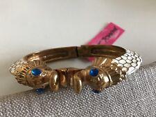 NWT 100% Betsey Johnson White Dragon W/ Blue Eyes Bangle Bracelet