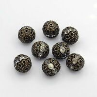 10pcs  Antique Bronze Crystal Brass Rhinestone Round Beads Grade A Nickel Free