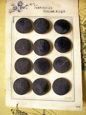 12 vintage Czech black glass buttons with a finely textured top on original card