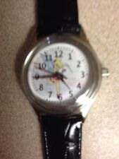 Disney Tinkerbell Watch With Black Leather Band, NIB