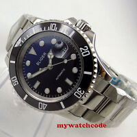 40mm BLIGER blue black dial sapphire glass date Japan NH35 automatic mens watch
