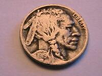1919-D Buffalo Nickel Ch F Sharp Fine Nice Original Indian Head 5 Cent US Coin