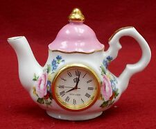 "ROYAL ALBERT china LADY CARLYLE pattern Mini Teapot Clock  3-1/4"""