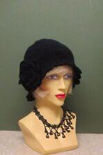 1920s CLOCHE/DOWNTON ABBEY/ BEANIE HAND CROCHET BLACK HAT WITH FLOWER