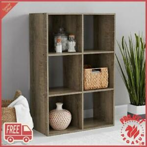6 Cube Storage Organizer Bookshelf Stylish Bookcase Open Shelves Rustic Gray NEW