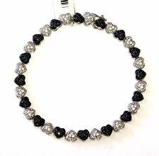 "14k 8"" white gold black cz heart tennis bracelet 12.7g cubic zirconia womens"