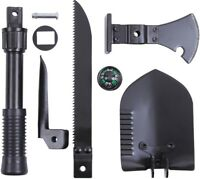 Black 5-In-1 Multi Purpose Camping Tool Emergency - Shovel Saw Axe Pick Compass